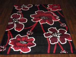 Modern Approx 6x4ft 115x165cm Woven Backed  Rugs Sale Top Quality Black/Red New